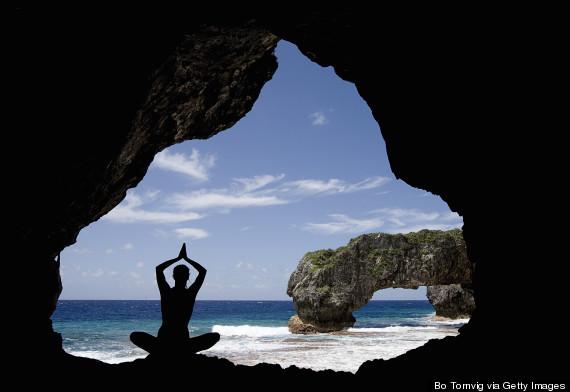 woman, cave, relaxd, ocean