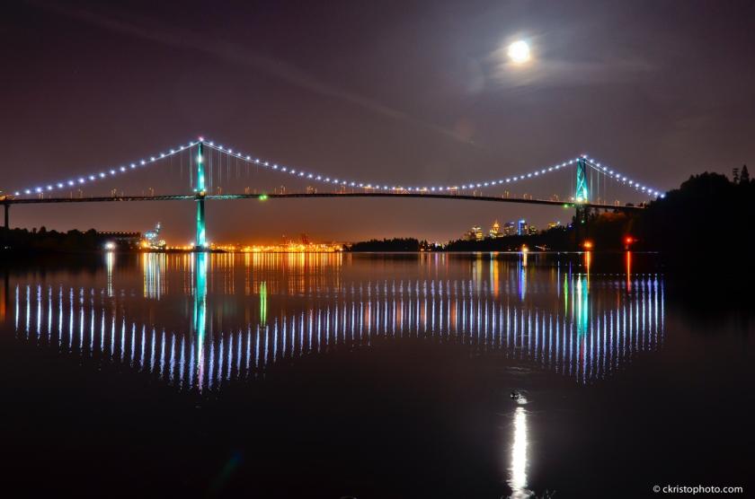 Lions Gate Bridge with Super moon